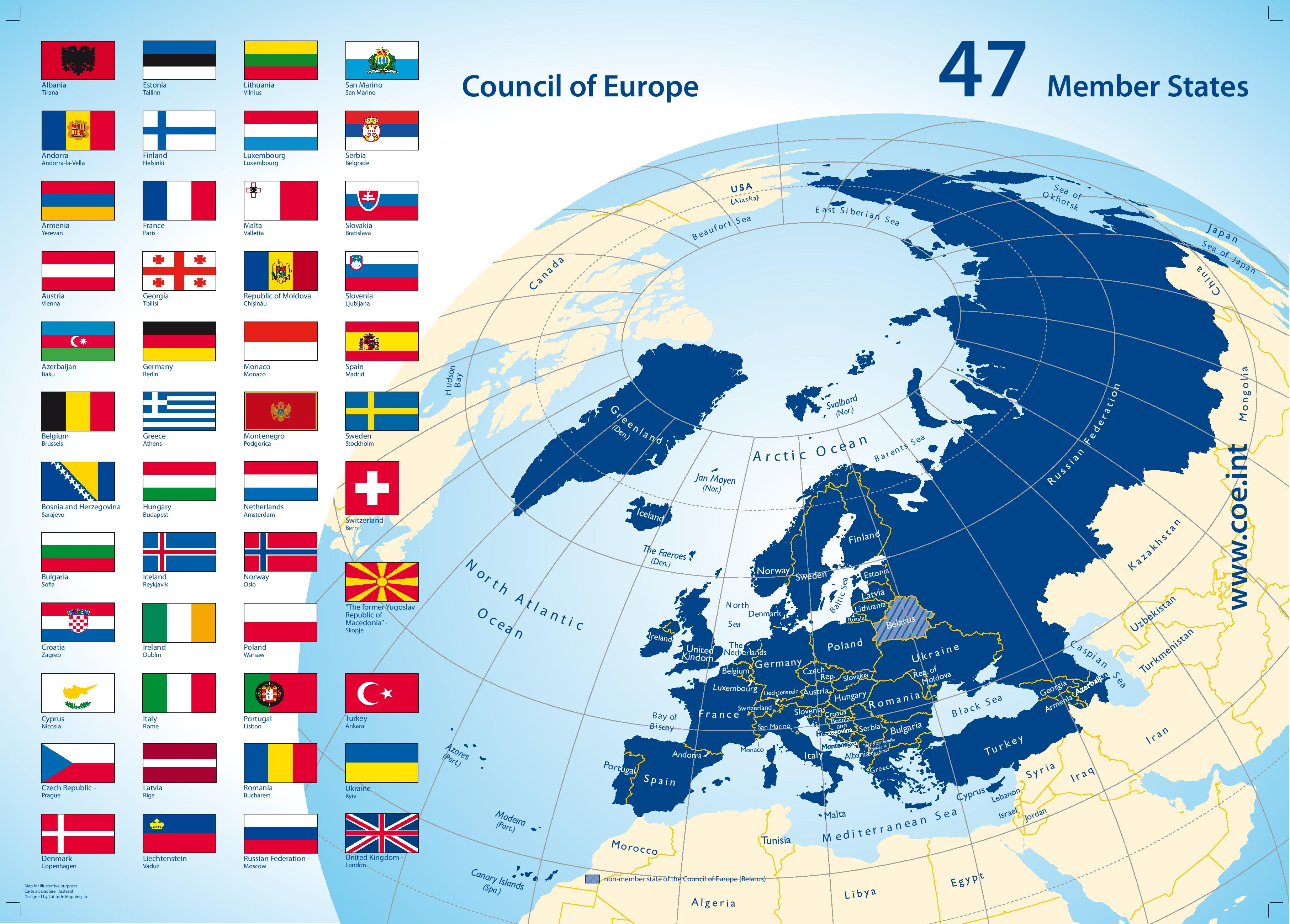 Map of the 47 Member States of the Council of Europe